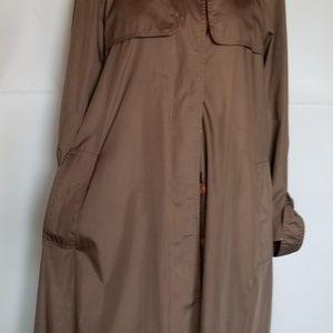 Womans brown long trench coat rain L - XL